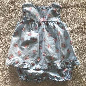 Cat & Jack Floral Ruffle Blue Outfit Set